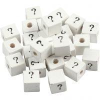 Cuenta cuadrada con signo, ?, medidas 8x8 mm, medida agujero 3 mm, blanco, 25 ud/ 1 paquete