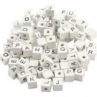 Cuenta cuadrada con letra, A-Z, &, #, ?, medidas 8x8 mm, medida agujero 3 mm, blanco, 96 stdas/ 1 paquete