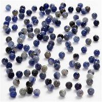 Perlas, dia: 3 mm, medida agujero 0,5-0,7 mm, azul, 120 ud/ 1 paquete