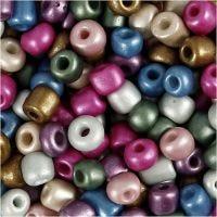 Rocalla cuenta, dia: 5 mm, medidas 4/0 , medida agujero 1,2 mm, colores metálicos, 720 gr/ 1 bote