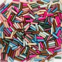 Mezcla de cuentas, L. 6 mm, dia: 1,5-2 mm, medida agujero 1 mm, colores metálicos, 130 gr/ 1 paquete