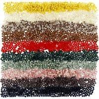 Cuentas de plástico, dia: 6 mm, medida agujero 1,5 mm, surtido de colores, 10x40 gr/ 1 paquete