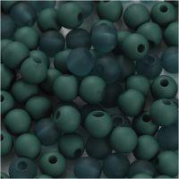 Cuenta de plástico, dia: 6 mm, medida agujero 2 mm, verde botella, 40 gr/ 1 paquete