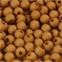 Cuenta de plástico, dia: 6 mm, medida agujero 2 mm, marrón, 40 gr/ 1 paquete