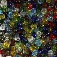 Rocalla cuenta, dia: 4 mm, medidas 6/0 , medida agujero 0,9-1,2 mm, transparente brillante, 130 gr/ 1 paquete