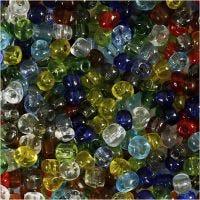 Rocalla cuenta, dia: 4 mm, medidas 6/0 , medida agujero 0,9-1,2 mm, transparente brillante, 1000 gr/ 1 paquete