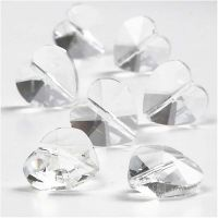 Cuentas de cristal, forma de corazón, medidas 14 mm, medida agujero 1 mm, transparente brillante, 30 ud/ 1 paquete