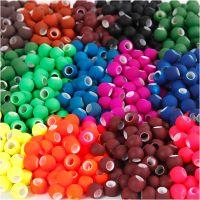Cuentas enlazadoras , medidas 8x10 mm, medida agujero 5 mm, surtido de colores, 20x21 gr/ 1 paquete