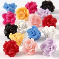 Rosas de arcilla, dia: 16x10 mm, medida agujero 0,5 mm, surtido de colores, 16 stdas/ 1 hebra