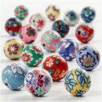 Perlas de arcilla, dia: 10 mm, medida agujero 1 mm, surtido de colores, 40 stdas/ 1 hebra