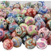 Perlas de arcilla, dia: 10 mm, medida agujero 1 mm, surtido de colores, 200 stdas/ 1 paquete