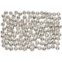 Perlas Lujosas enceradas, dia: 3 mm, medida agujero 0,7 mm, plata, 150 ud/ 1 paquete