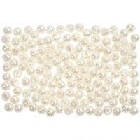 Perlas Lujosas enceradas, dia: 3 mm, medida agujero 0,7 mm, madre perla, 150 ud/ 1 paquete