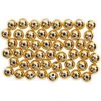 Perlas Lujosas enceradas, dia: 5 mm, medida agujero 0,7 mm, dorado, 100 ud/ 1 paquete