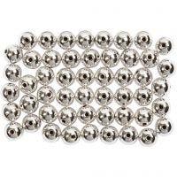 Perlas Lujosas enceradas, dia: 5 mm, medida agujero 0,7 mm, plata, 100 ud/ 1 paquete