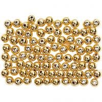 Perlas Lujosas enceradas, dia: 4 mm, medida agujero 0,7 mm, dorado, 150 ud/ 1 paquete
