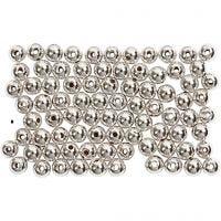 Perlas Lujosas enceradas, dia: 4 mm, medida agujero 0,7 mm, plata, 150 ud/ 1 paquete