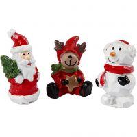 Pequeñas figuras, Papá Noël, reno y muñeco de nieve, A: 35 mm, L. 10 mm, 3 ud/ 1 paquete