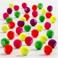 Perlas neón, dia: 6 mm, medida agujero 1,2 mm, 50 gr/ 1 paquete