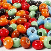 Cuentas de cerámica, dia: 15 mm, medida agujero 5,5 mm, El contenido puede variar , surtido de colores, 300 ud/ 1 paquete
