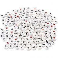 Cuentas de letras, medidas 7 mm, medida agujero 1,2 mm, blanco, 200 gr/ 1 paquete