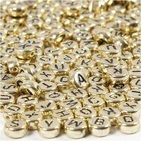 Cuentas de letras y números, dia: 7 mm, medida agujero 1,2 mm, dorado, 21 gr/ 1 paquete