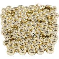 Cuentas de letras y números, dia: 7 mm, medida agujero 1,2 mm, dorado, 165 gr/ 1 paquete