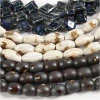 Cuentas de cerámica, L. 12-19 mm, medida agujero 2 mm, azul, beige piedra, blanquecino, 99 ud/ 1 paquete