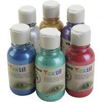 Pintura metálica de textiles PRIMO, surtido de colores, 6x125 ml/ 1 paquete