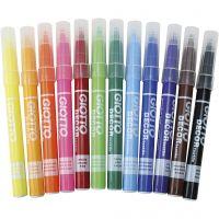 Marcador de tela GIOTTO, trazo ancho 4 mm, surtido de colores, 12 ud/ 1 paquete
