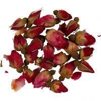 Flores secas, Capullos de rosa, L. 1 - 2 cm, dia: 0,6 - 1 cm, rosa oscuro, 1 paquete
