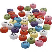 Cuentas de letras redondas, dia: 7 mm, medida agujero 1-2 mm, surtido de colores, 0,0 ud/ 1 paquete