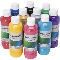 Pintura de vidrio y porcelana, surtido de colores, 10x250 ml/ 1 paquete