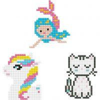 Diamond Dotz, Gato, sirena, pony, medidas 18x10 cm, 1 paquete