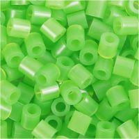 Fuse Beads, medidas 5x5 mm, medida agujero 2,5 mm, medium, verde neón (32237), 1100 ud/ 1 paquete