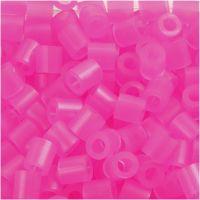 Fuse Beads, medidas 5x5 mm, medida agujero 2,5 mm, medium, rosa neón (32257), 1100 ud/ 1 paquete