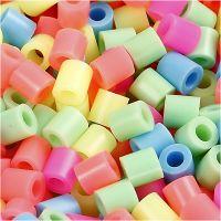 Fuse Beads, medidas 5x5 mm, medida agujero 2,5 mm, medium, colores pastel, 20000 stdas/ 1 cubo