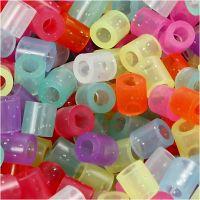 Fuse Beads, medidas 5x5 mm, medida agujero 2,5 mm, medium, colores con purpurina, 6000 stdas/ 1 paquete