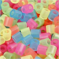 Fuse Beads, medidas 5x5 mm, medida agujero 2,5 mm, medium, colores neón, 5000 stdas/ 1 cubo