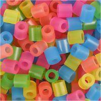 Fuse Beads, medidas 5x5 mm, medida agujero 2,5 mm, medium, colores neón, 1100 stdas/ 1 paquete