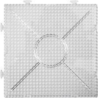 Placa de clavijas, cuadrado grande, medidas 15x15 cm, transparente, 2 ud/ 1 paquete