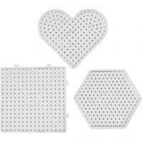 Tableros de clavijas, medidas 15x15-17,5x17,5 cm, JUMBO, transparente, 6 ud/ 1 paquete