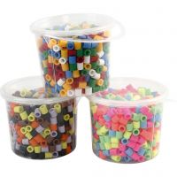 Fuse Beads, medidas 10x10 mm, medida agujero 5,5 mm, JUMBO, surtido de colores, 3x550 stdas/ 1 paquete