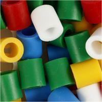 Fuse Beads, medidas 10x10 mm, medida agujero 5,5 mm, JUMBO, colores estándar, 3200 stdas/ 1 paquete