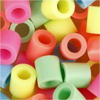 Fuse Beads, medidas 10x10 mm, medida agujero 5,5 mm, JUMBO, colores pastel, 1000 stdas/ 1 paquete