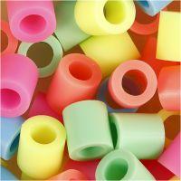 Fuse Beads, medidas 10x10 mm, medida agujero 5,5 mm, JUMBO, colores pastel, 550 stdas/ 1 paquete
