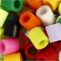 Fuse Beads, medidas 10x10 mm, medida agujero 5,5 mm, JUMBO, colores adicionales, 2450 stdas/ 1 cubo