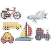 Chinchetas/marcadores, Transportes, medidas 9x9,5+11x16 cm, 6 ud/ 1 paquete