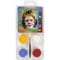 Pintura facial al agua - Motif Set, pallaso, surtido de colores, 1 set