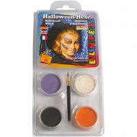 Pintura facial al agua - Motif Set, bruja de halloween, surtido de colores, 1 set